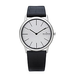 Skagen - Men's silver slim analogue dial leather strap watch
