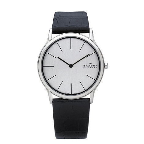 Skagen - Men+s silver slim analogue dial leather strap watch
