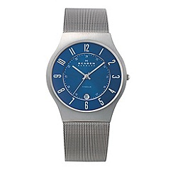 Skagen - Men's blue analogue dial mesh strap watch