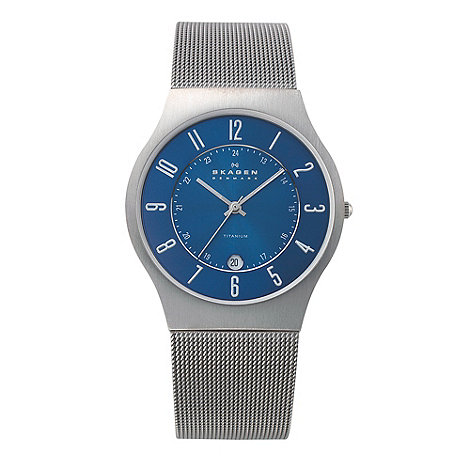 Skagen - Men+s blue analogue dial mesh strap watch