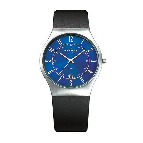 Skagen - Men+s black leather sleek timepiece