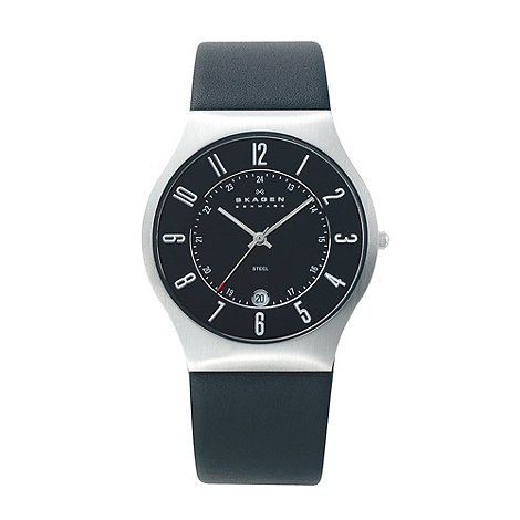 Skagen - Men+s black analogue dial leather strap watch