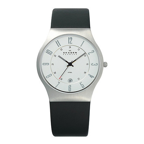 Skagen - Men+s black round dial watch