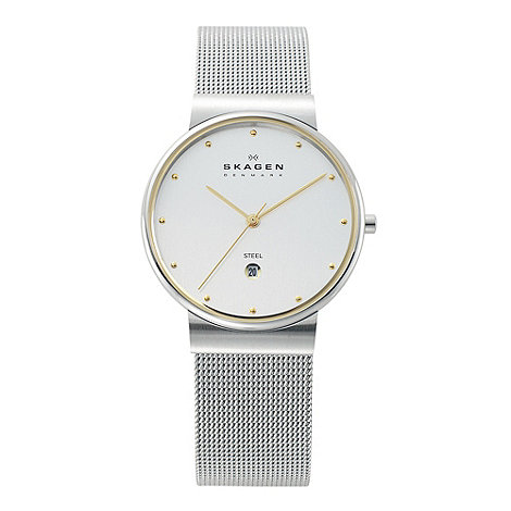 Skagen - Men+s silver analogue dial fine mesh strap watch