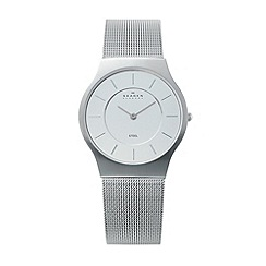 Skagen - Men's white analogue dial mesh strap watch