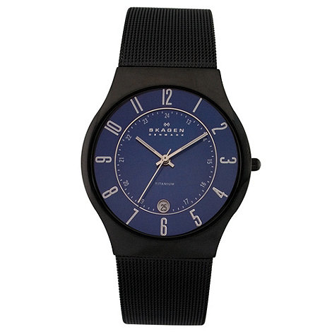 Skagen - Men's black analogue dial mesh strap watch