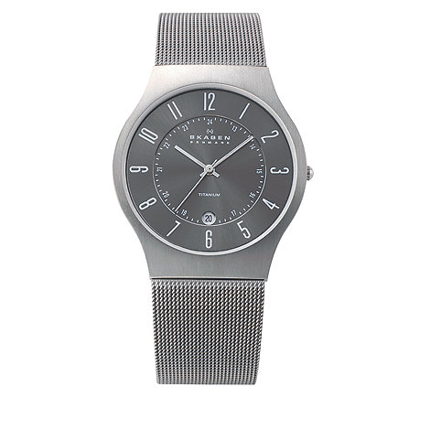 Skagen - Men+s grey carcoal sleek watch