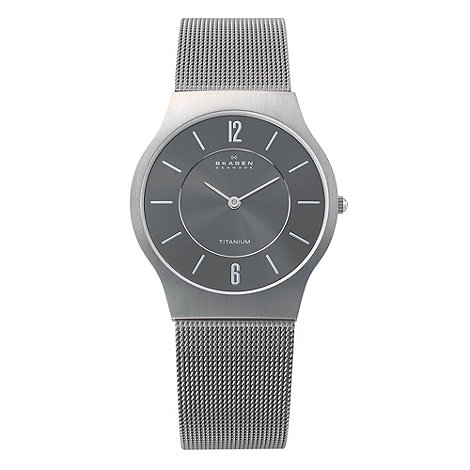Skagen - Men+s grey analogue dial fine mesh strap watch