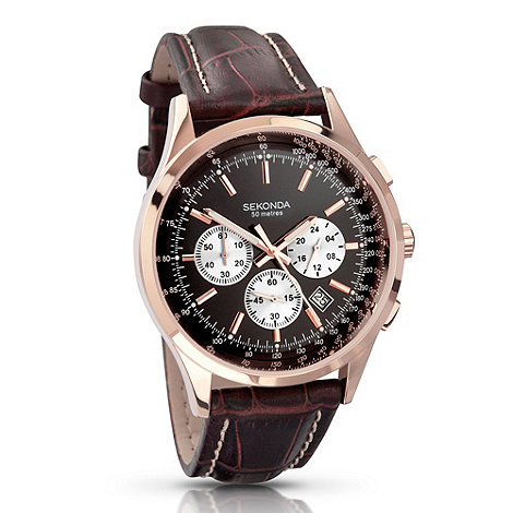 Sekonda - Men+s dark brown chronograph watch 3413.28