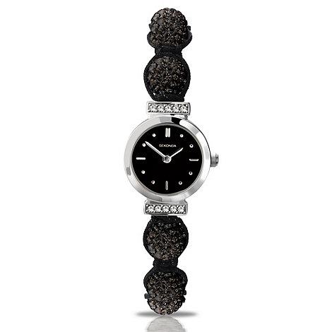 Sekonda - Ladies black crystal bead bracelet watch
