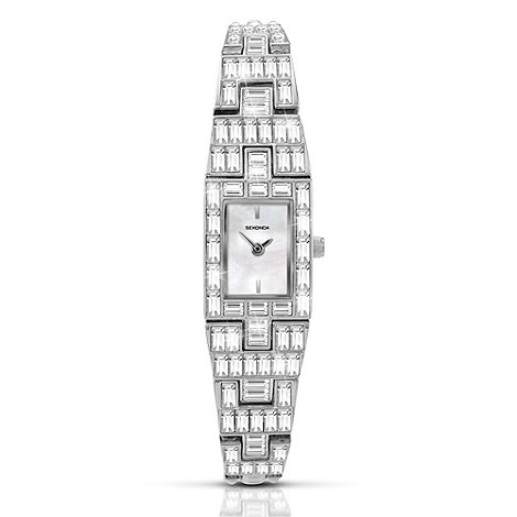 Sekonda - Ladies silver rectangular dial diamante watch