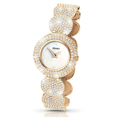 Seksy - Ladies +Elegance+ gold round strap watch