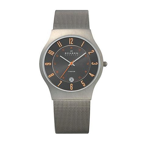 Skagen - Men+s grey analogue dial mesh strap watch