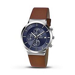Accurist - Men's brown leather strap blue dial chronograph watch 7132.01
