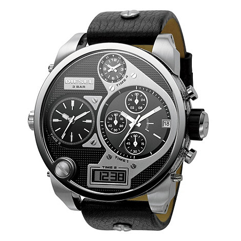 Diesel - Men+s +Mr Daddy+ black dial & black leather strap watch