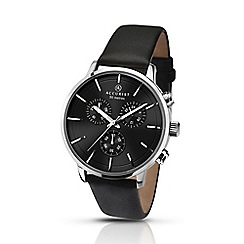 Accurist - Men's black leather strap black dial chronograph watch 7140.01