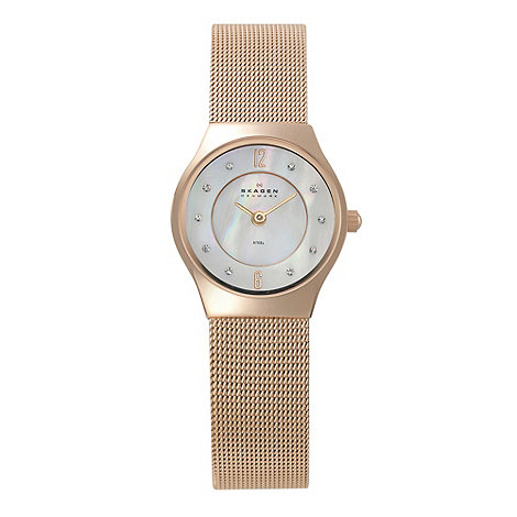 Skagen - Ladies bronze mother of pearl and diamante dial watch