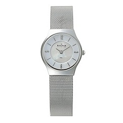 Skagen - Ladies silver mother of pearl dial mesh strap watch