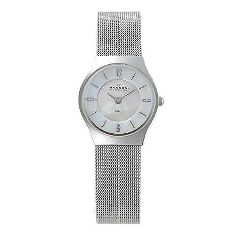 Skagen - Ladies silver mother of pearl dial mesh strap watch