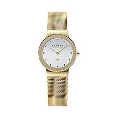 Skagen - Ladies gold glitzy mesh watch