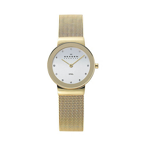 Skagen - Ladies gold glitzy mesh watch 358sggd