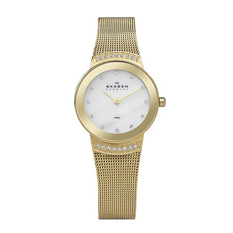 Skagen - Ladies gold mother of pearl dial watch