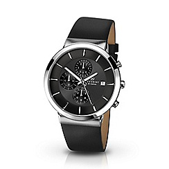 Accurist - Men's black leather strap chronograph watch 7131.01