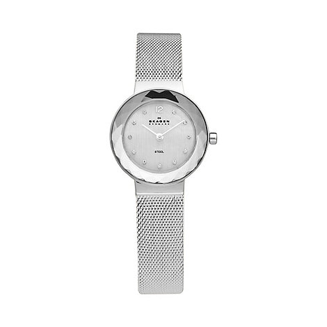 Skagen - Ladies silver faceted bezel watch