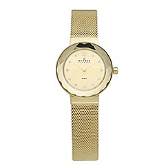 Skagen - Ladies gold faceted bezel watch