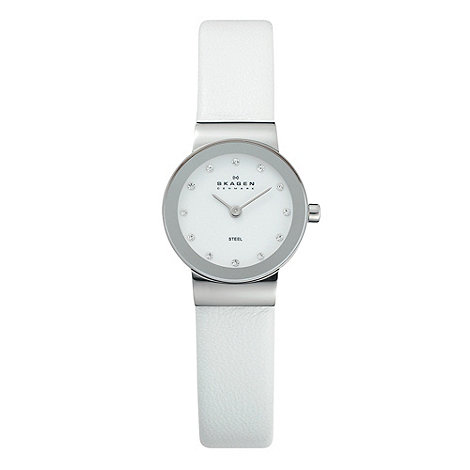 Skagen - Ladies white leather strap watch