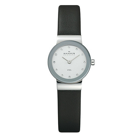 Skagen - Ladies black leather strap watch