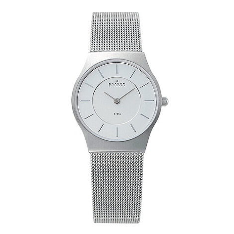 Skagen - Ladies silver mesh round face watch