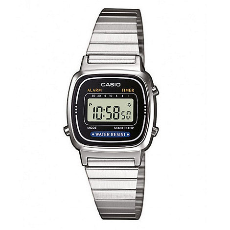Casio - Ladies silver square digital black dial bracelet watch