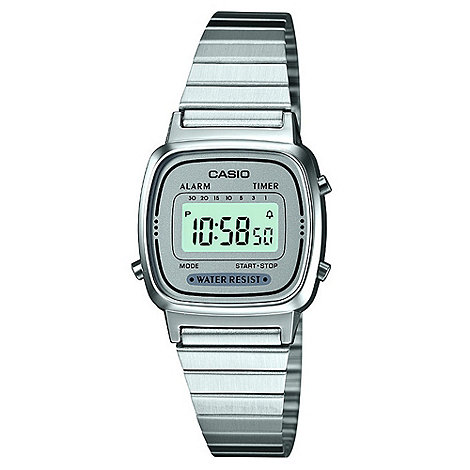 Casio - Ladies silver square digital dial bracelet watch