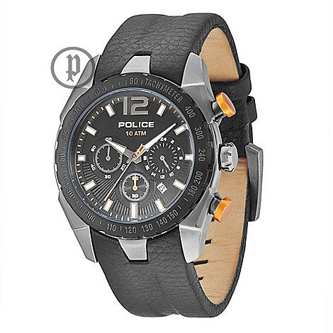 Police - Men+s black chronograph watch