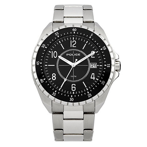 Police - Men+s silver black dial bracelet watch