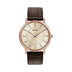 Bulova - Men's brown strap watch