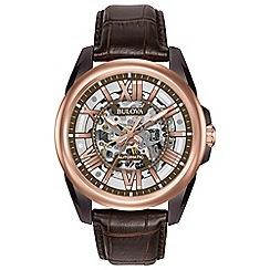 Bulova - Men's Brown skeleton strap watch 98a165