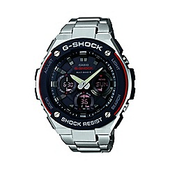 Casio - Men's silver 'G Steel' with black dial chronograph watch gst-w100d-1a4er