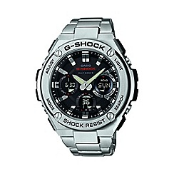 Casio - Men's silver 'G Steel' with black dial chronograph watch gst-w110d-1aer