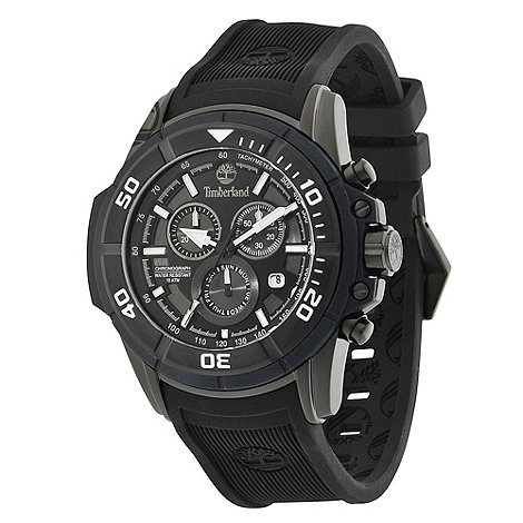 Timberland - Men+s black +franconia+ chronograph rubber wrist watch