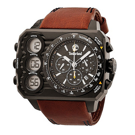 Timberland - Men's brown ht3 multi function leather strap watch