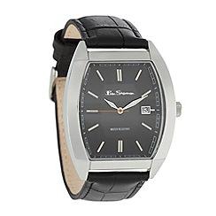 Ben Sherman - Men's black mock croc leather strap watch