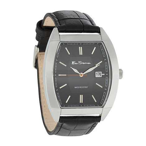 Ben Sherman - Men+s black mock croc leather strap watch