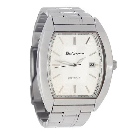 Ben Sherman - Men+s silver stainless steel tonneau dial watch