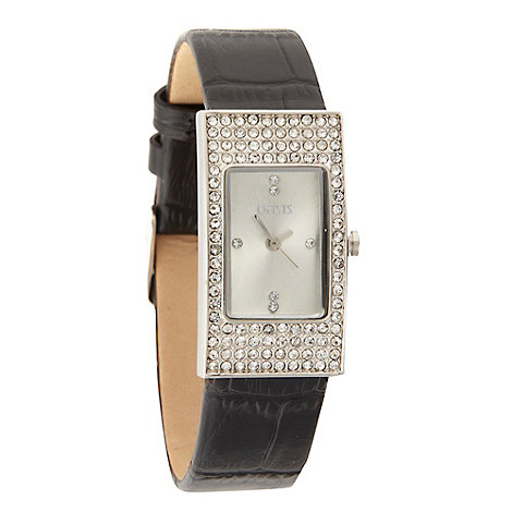 Oasis - Ladies black strap stone case watch