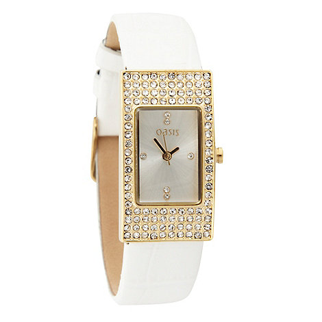 Oasis - Ladies white strap stone case watch