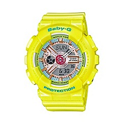 Casio - Ladies Neo pastel yellow 'Baby G' world time digital watch ba-110ca-9aer