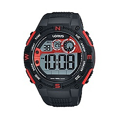 Lorus - Men's digital silicone black/red strap watch r2309lx9