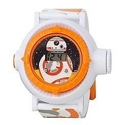 Star Wars - Children's Digital Watch, with a white strap and an orange dial star433